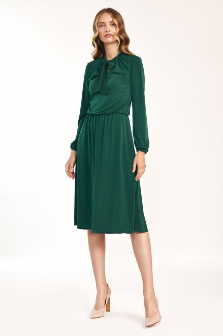 Nife  Zielona sukienka z fontaziem - S186 Платье зеленый оптом