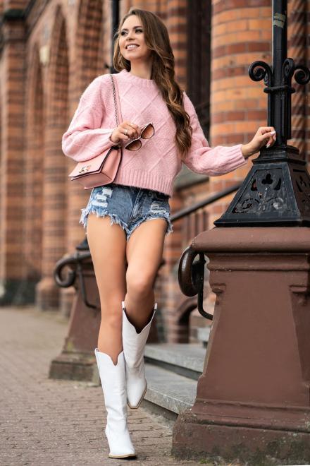 Merribel  Xmasin Pink sweter Свитер Розовый оптом