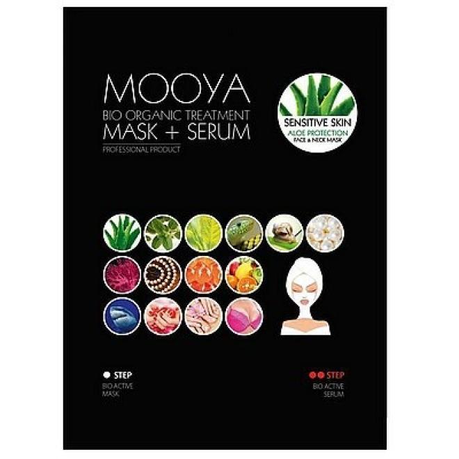 Beauty Face  MOOYA Bio Organic Sensitive Skin Aloe Zabieg na twarz i szyję odmłodzenie i ochrona z ekstraktem z aloesu MASKA + SERUM 36g+6g Маски тканевые  оптом