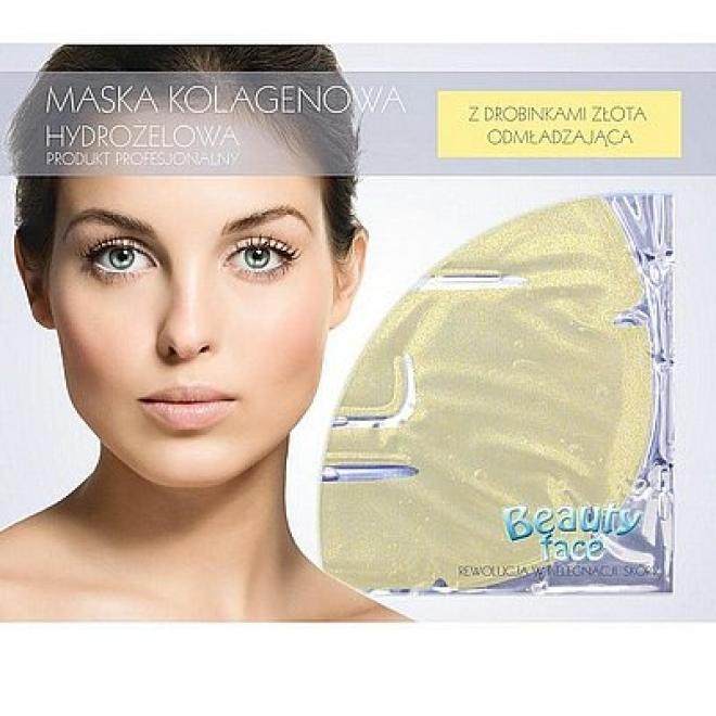Beauty Face  Maska na twarz z drobinkami złota odmładzająca płat kolagenowy Маски коллаген кристаллический  оптом