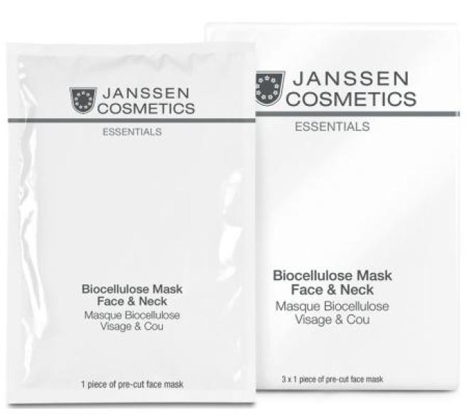Janssen Cosmetics  Maska biocelulozowa na twarz i szyję Janssen Biocellulose Mask Face & Neck (P8206p) 3 x 1 szt. Маски тканевые  оптом