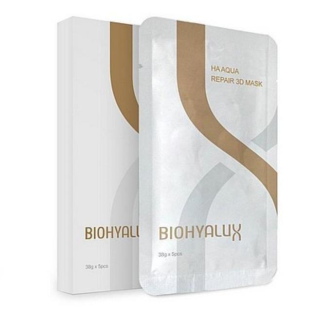 Bloomage Freda Biopharm  Maska HA Aqua Repair 3D Mask odbudowująca w płacie na twarz i szyję BioHyalux 5 x 38g Маски тканевые  оптом