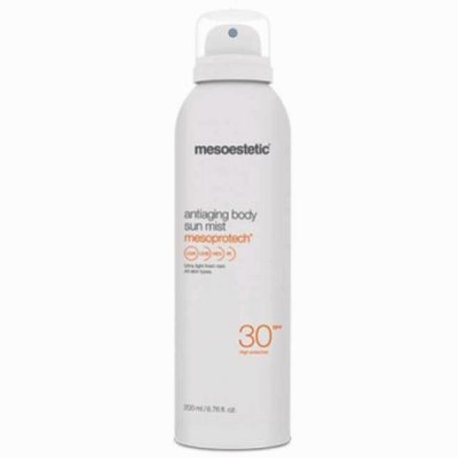 Mesoestetic  Mgiełka do ciała Mesoestetic Mesoprotech Antiaging Body Sun Mist SPF30+ wodoodporna przeciwstarzeniowa 200ml Целлюлит, упругость кожи тела --//-- оптом