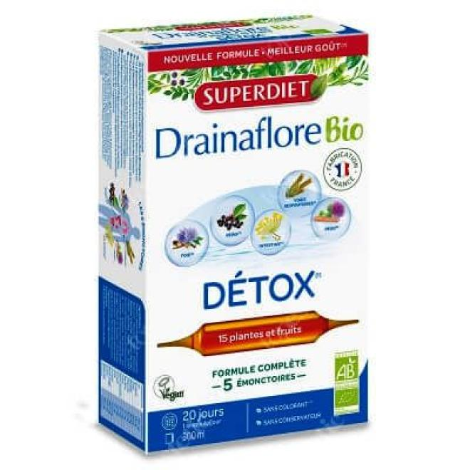 Super Diet  Super Diet DETOX DRAINAFLORE Bio preparat oczyszczający, detoksykujący i regenerujący 20 x 15ml Биодобавки --//-- оптом