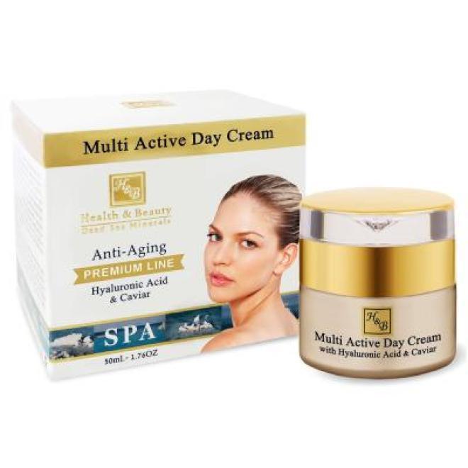 Health&Beauty Izrael  Krem na dzień Multi Active Day Cream z kwasem hialuronowym i kawiorem Premium Line Health&Beauty 50 ml Крем дневной --//-- оптом