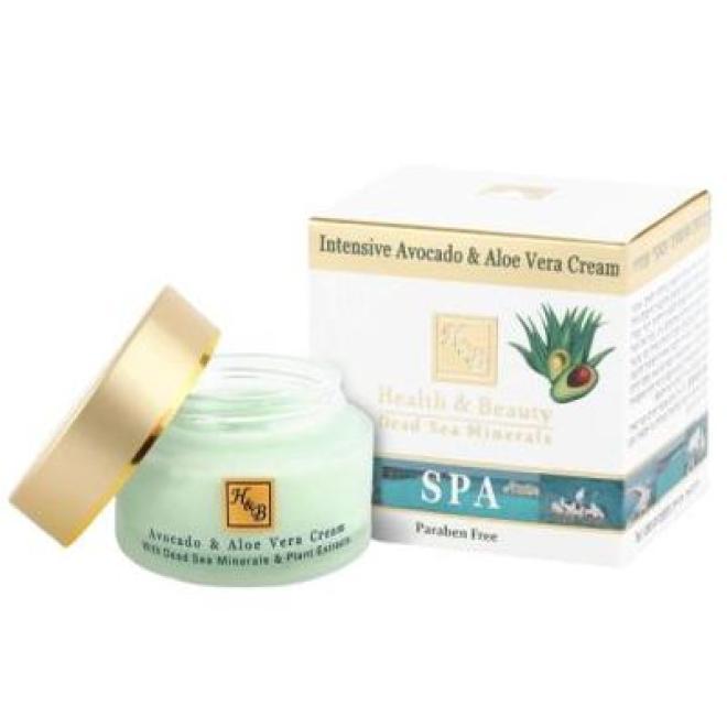 Health&Beauty Izrael  Krem intensywny z awokado, aloesem i minerałami z Morza Martwego Health & Beauty Intensive Avocado & Aloe Vera Cream 50ml Мертвое море --//-- оптом