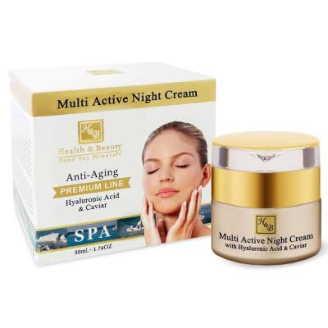 Health&Beauty Izrael  Krem na noc Multi Active Night Cream z kwasem hialuronowym i kawiorem Anti-Aging Premium Line Health&Beauty 50 ml Крем ночной --//-- оптом