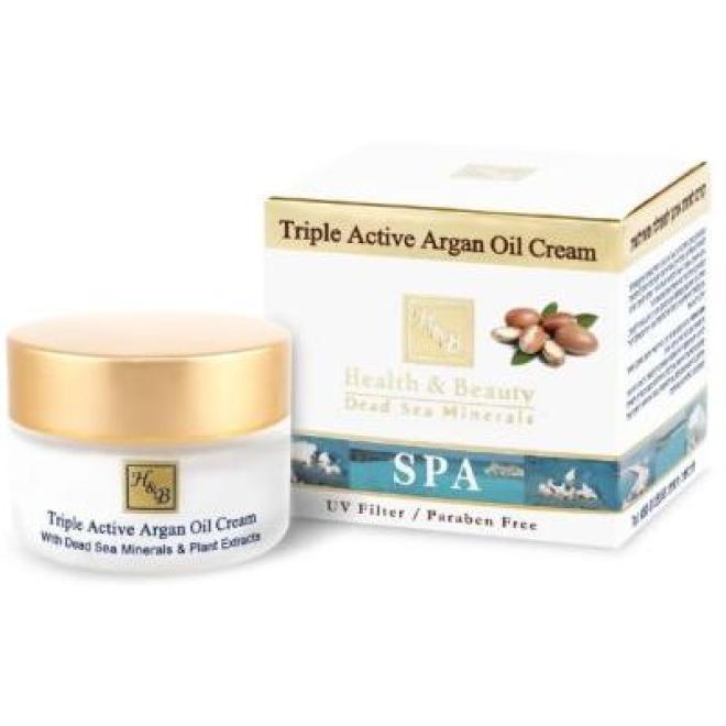 Health&Beauty Izrael  Krem arganowy Health&Beauty Triple Active Argan Oil Cream nawilżający o potrójnym działaniu z minerałami z Morza Martwego 50ml Крем ночной --//-- оптом
