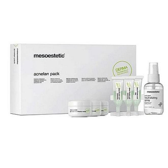 Mesoestetic  Zestaw zabieg profesjonalny terapia skóry trądzikowej i łojotokowej Mesoestetic Acnelan Pack Крем и препараты для проблемной кожи --//-- оптом