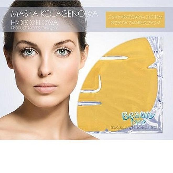 Beauty Face  Maska na twarz przeciwzmarszczkowa szokowa ze złotem płat kolagenowy Маски коллаген кристаллический --//-- оптом