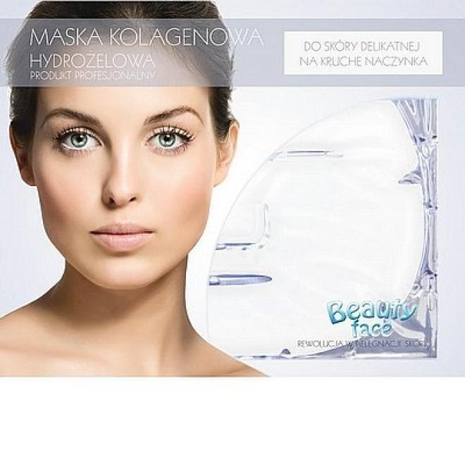 Beauty Face  Maska na twarz silnie wygładzająco- nawilżająca na kruche naczyńka płat kolagenowy Маски коллаген кристаллический --//-- оптом