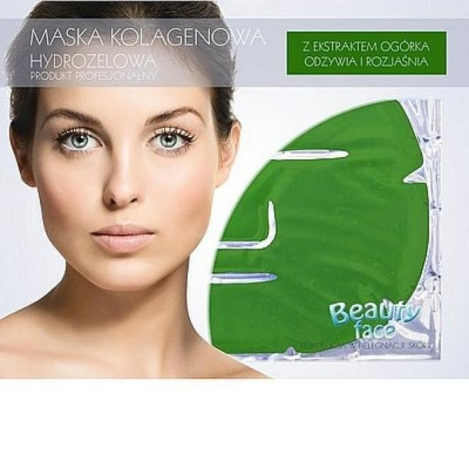 Beauty Face  Maska na twarz z ekstraktem z ogórka kolagenowa odżywczo rozjaśniająca Маски коллаген кристаллический --//-- оптом