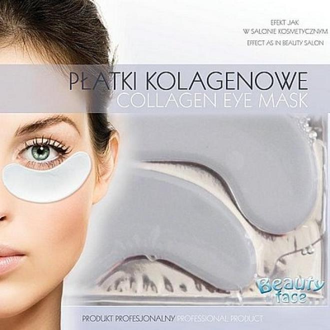 Beauty Face  Płatki pod oczy do skóry delikatnej i na kruche naczynka kolagenowe odmładzające szokowe Маски коллаген кристаллический --//-- оптом