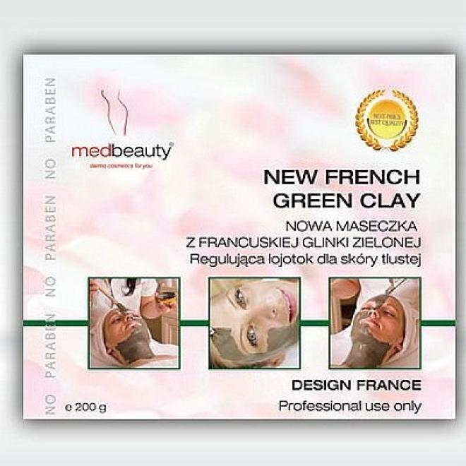 Medbeauty  Maska z francuskiej glinki zielonej skóra tłusta French Green Clay Medbeauty 200g Маски кремовые и грязевые  оптом