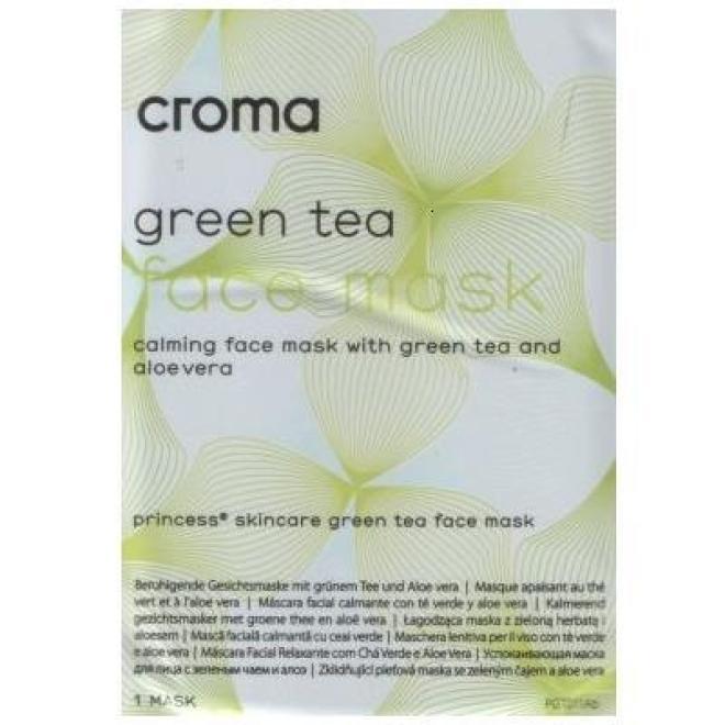 Croma  Maska Princess Skincare Green Tea Face Mask pozabiegowa stymulująco-odżywcza Croma 8 x 28 g Маски тканевые  оптом