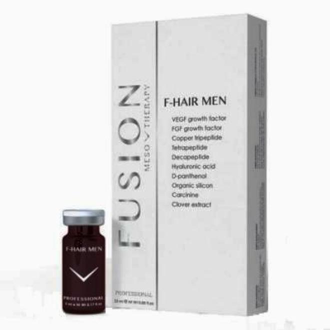 Fusion Mesotherapy  Koktajl FUSION F-HAIR MEN leczenie łysienia do mezoterapii igłowej 5 x 5 ml Мезотерапия иглами --//-- оптом