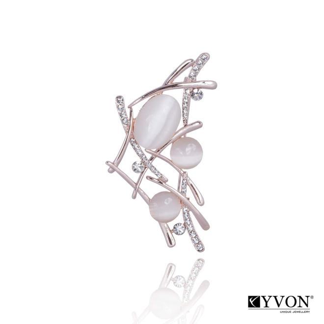 YVON  Broszka z kamieniem kwarcowym BR02634 Брошки  оптом