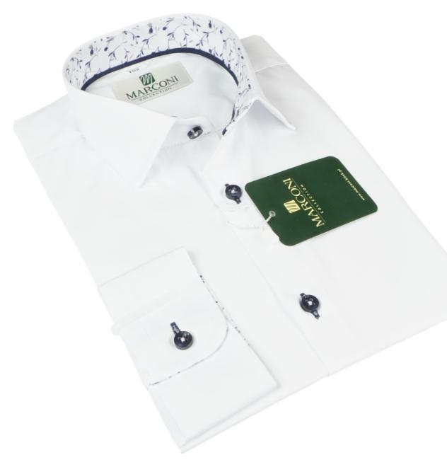 Marconi  1068 GL Рубашка для мальчиков biała-wyk.granatowe gałązki оптом