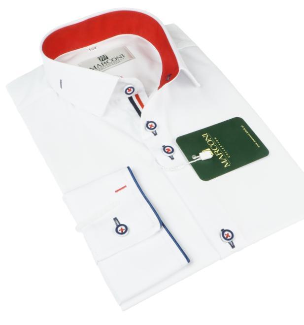 Marconi  1068 ER Рубашка для мальчиков biała-wyk.czerwony оптом