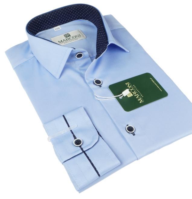 Marconi  888 A Рубашка для мальчиков błękitna-wyk.granat w białe kropki оптом