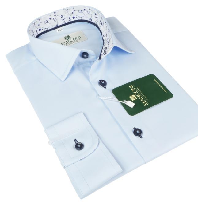Marconi  890 GL Рубашка для мальчиков błękitna-wyk.gałązki оптом