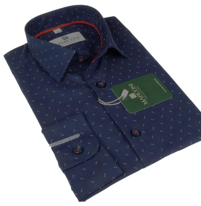 Marconi  967 Y Рубашка для мальчиков granatowa w podwójną biała kropkę оптом