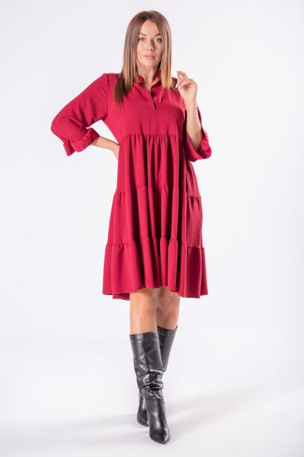 DUET A&M  trapezowa sukienka z falbanami, dekoltem w serek i rękawem 3/4 M81672 Платье Бордовый оптом