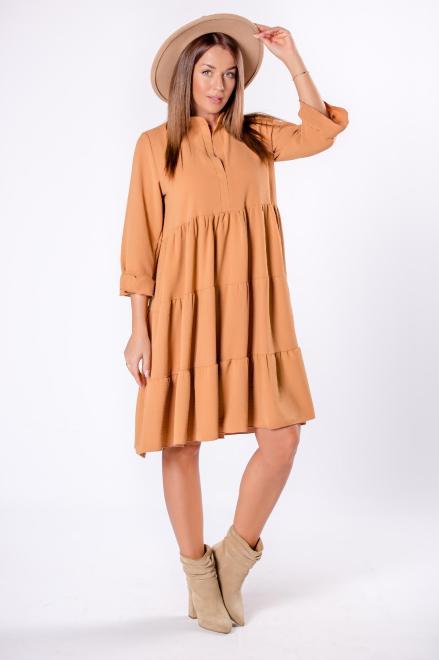DUET A&M  trapezowa sukienka z falbanami, dekoltem w serek i rękawem 3/4 M81672 Платье Бежевый оптом