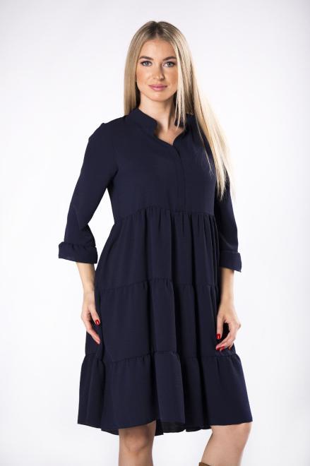 trapezowa sukienka z falbanami, dekoltem w serek i rękawem 3/4 M81672 Платье Темносиний оптом