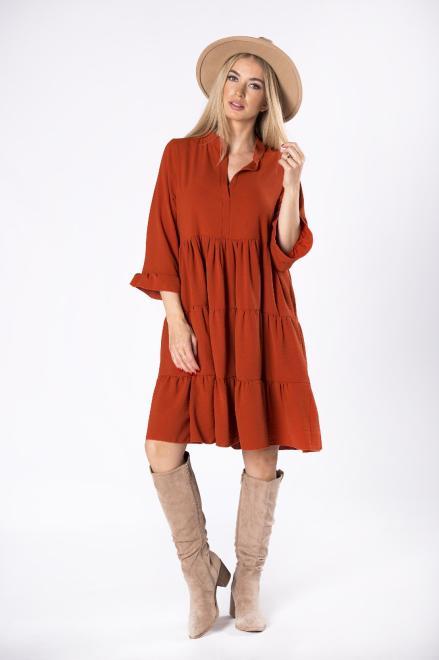 AMADEO  trapezowa sukienka z falbanami, dekoltem w serek i rękawem 3/4 M81672 Платье Оранжевый оптом