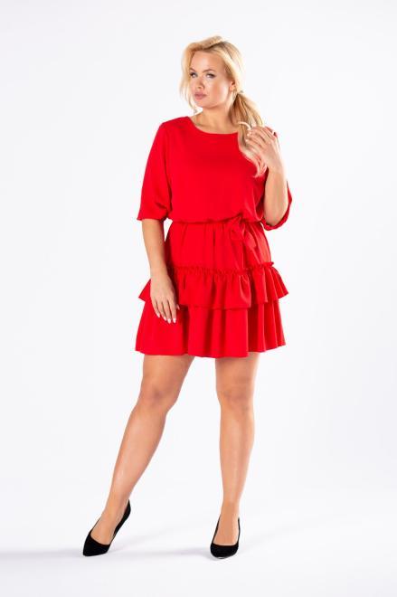 WAXIMA  sukienka z falbanami na dole i wiązaniem w pasie M81162 Платье Красный оптом