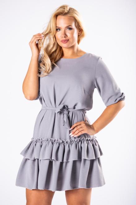 WAXIMA  sukienka z falbanami na dole i wiązaniem w pasie M81162 Платье Серый оптом
