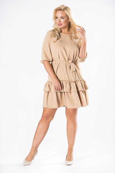 DUET A&M  sukienka z falbanami na dole i wiązaniem w pasie M81162 Платье Бежевый оптом