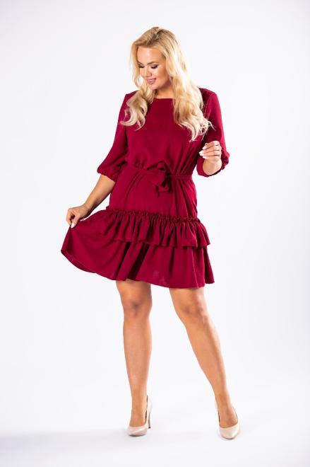WAXIMA  sukienka z falbanami na dole i wiązaniem w pasie M81162 Платье Бордовый оптом