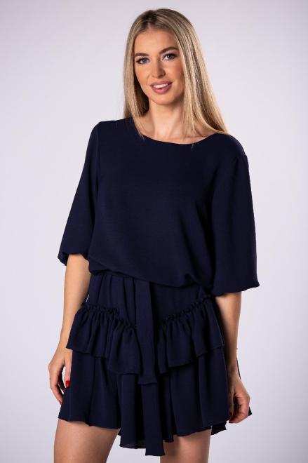 DUET A&M  sukienka z falbanami na dole i wiązaniem w pasie M81162 Платье Темносиний оптом