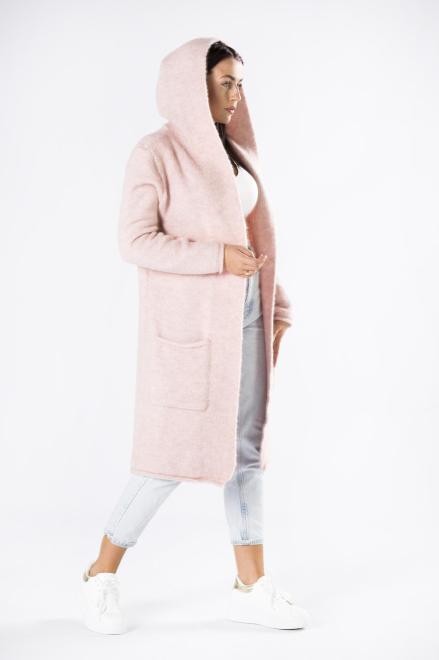 STAY HERE  długi sweter z kapturem M81004 Регулар Розовый оптом