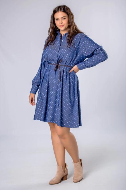 KOKORO  trapezowa sukienka szmizjerka z paskiem M81090 Платье Голубой оптом