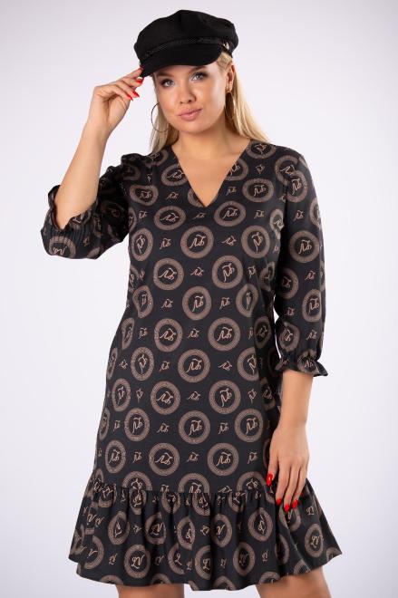 BRENDA  trapezowa sukienka z falbankami na dole M81326 Платье Черный оптом