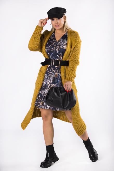 BRENDA  trapezowa sukienka z falbankami na dole M81326 Платье Multikolor оптом