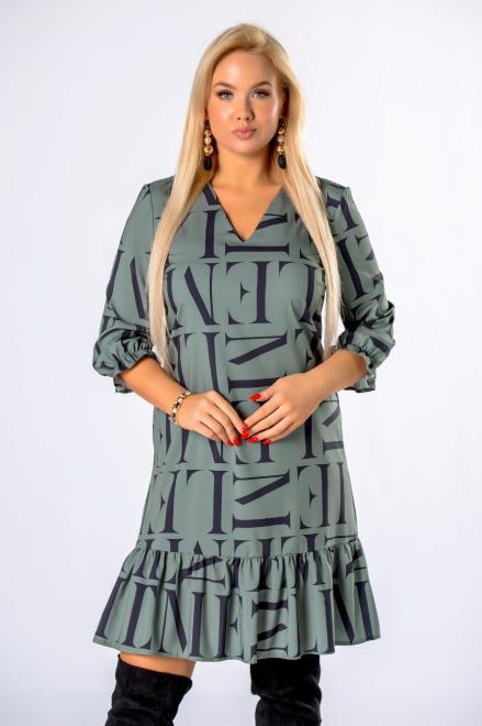 BRENDA  trapezowa sukienka z falbankami na dole M81326 Платье Зеленый оптом
