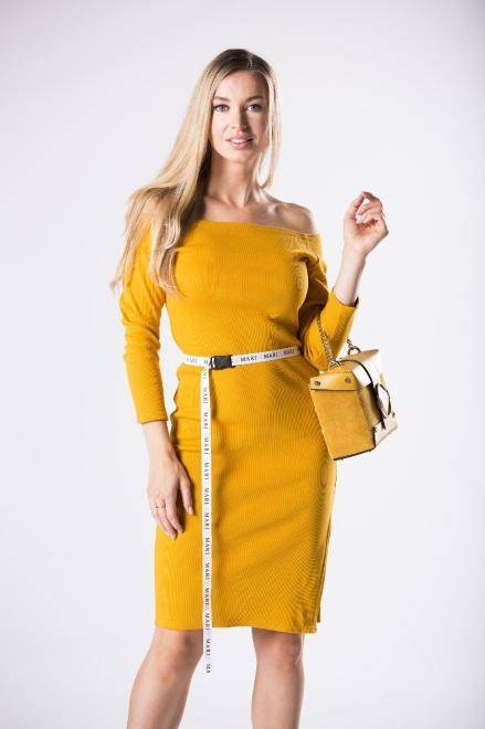 MARI MARI  prążkowana sukienka z hiszpańskim dekoltem i wiązaniem w pasie M81110 Платье Желтый оптом