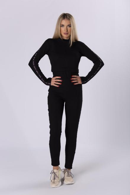 MARI MARI  dopasowany komplet bluzka i spodnie M81972 Регулар Черный оптом