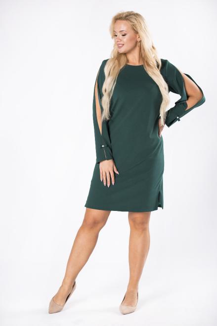WOX  monochromatyczna sukienka z rozcięciami na rękawach M81631 Платье Зеленый оптом