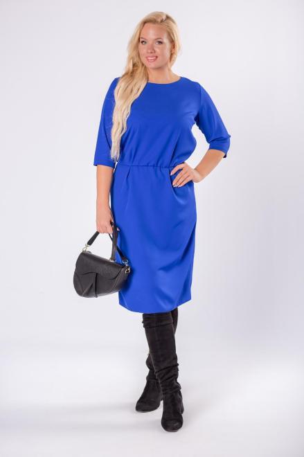 ROXANA  elegancka sukienka z gumką w pasie i rękawami 3/4 M81683 Платье Голубой оптом