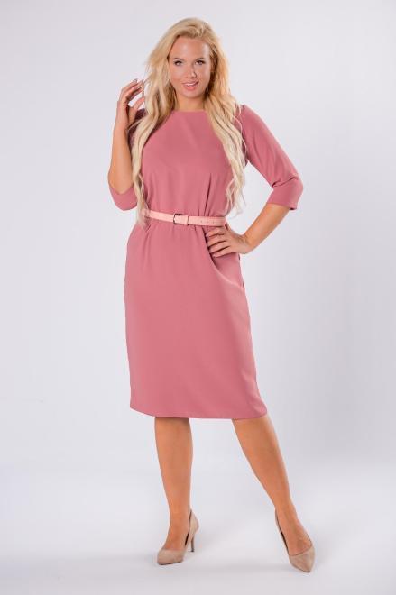 ROXANA  elegancka sukienka z gumką w pasie i rękawami 3/4 M81683 Платье Оранжевый оптом