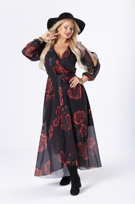 EXCLUSIVE  kopertowa sukienka maxi z rozcięciami na ramionach M81635 Платье Черный оптом