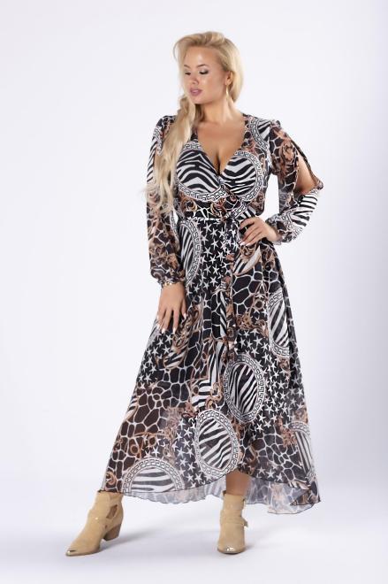 kopertowa sukienka maxi z rozcięciami na ramionach M81635 Платье Multikolor оптом