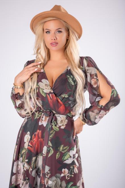 EXCLUSIVE  kopertowa sukienka maxi z rozcięciami na ramionach M81635 Платье Коричневый оптом