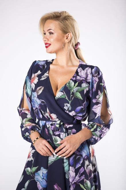 EXCLUSIVE  kopertowa sukienka maxi z rozcięciami na ramionach M81635 Платье Темносиний оптом