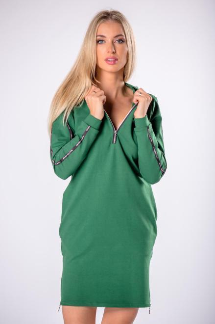 BODOO  dzianinowa sukienka z kapturem i lampasami na rękawach M81659 Платье Зеленый оптом